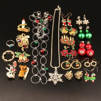 Vintage Christmas Jewelry Featuring Enamel and Glass Accents