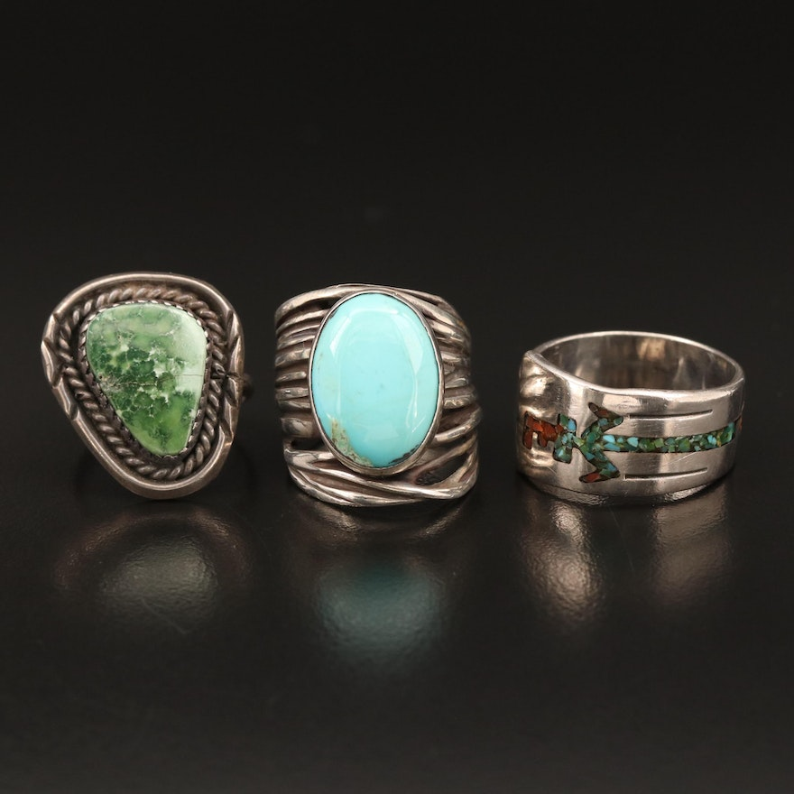 Selection of Southwestern Style Sterling Rings with Resin and Turquoise Accents