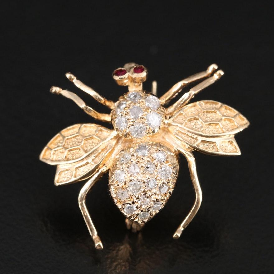 14K Diamond and Ruby Bee Brooch