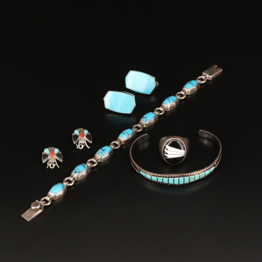 Sterling Assorted Jewelry Featuring Signed Western Cuff and Earrings