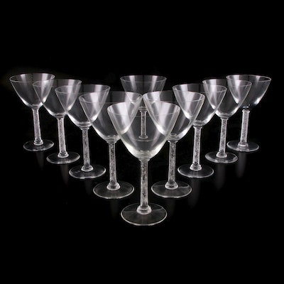 "Lalique ""Phalsbourg"" Champagne/Tall Sherbet Glasses, 1920s"