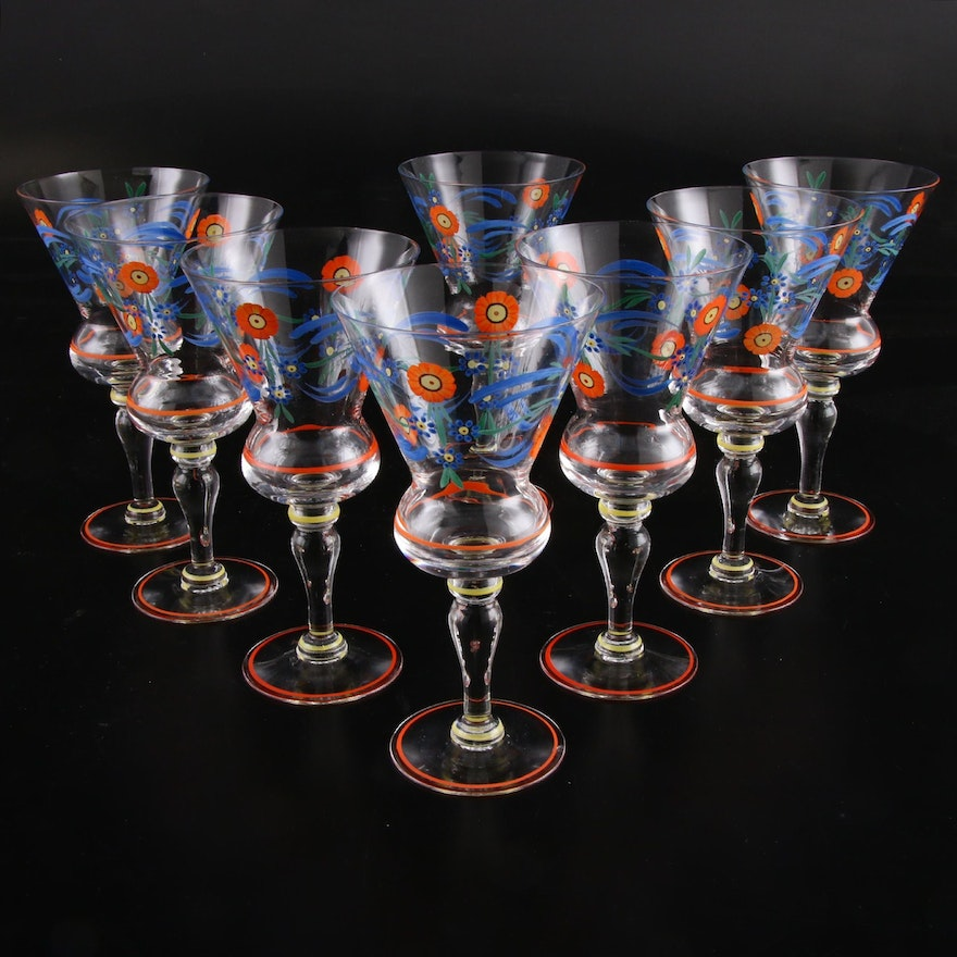 Czech Hand-Painted Glass Stemware