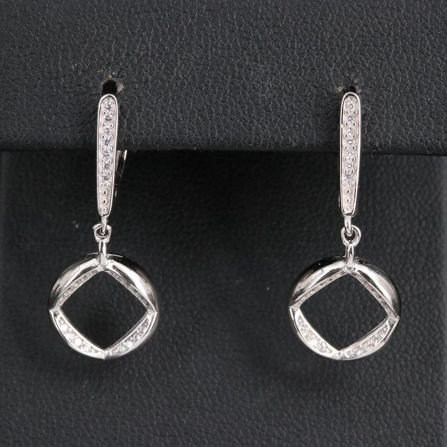 Sterling Cubic Zirconia Hoop Dangle Earrings