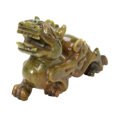 Chinese Carved Hardstone Guardian Lion Figurine
