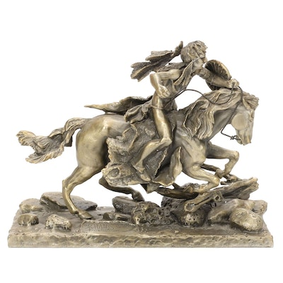 """Don Polland Cast Pewter Sculpture """"The Cheyenne,"""" 1973"""