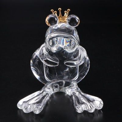 "Steuben ""Frog Prince"" Art Glass and 18K Gold Figurine Designed by Lloyd Atkins"