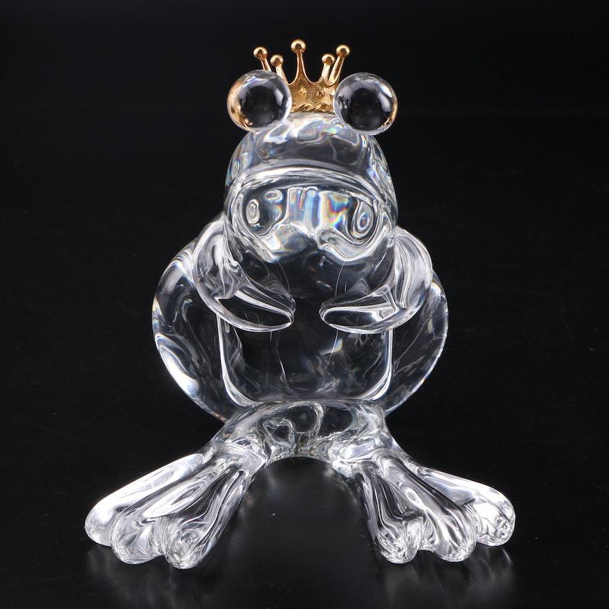 "Steuben ""Frog Prince"" Art Glass and 18K Gold Figurine Designed by Lloyd Atkins"