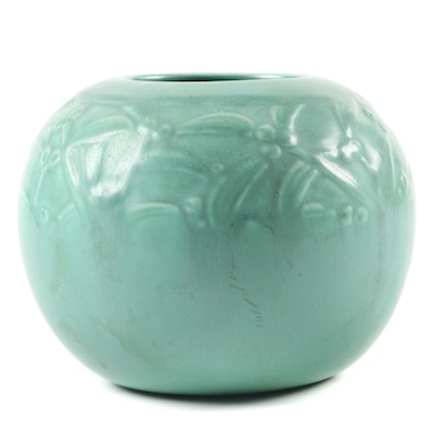 Rookwood Pottery Green Matte Glaze Production Rose Bowl, 1938
