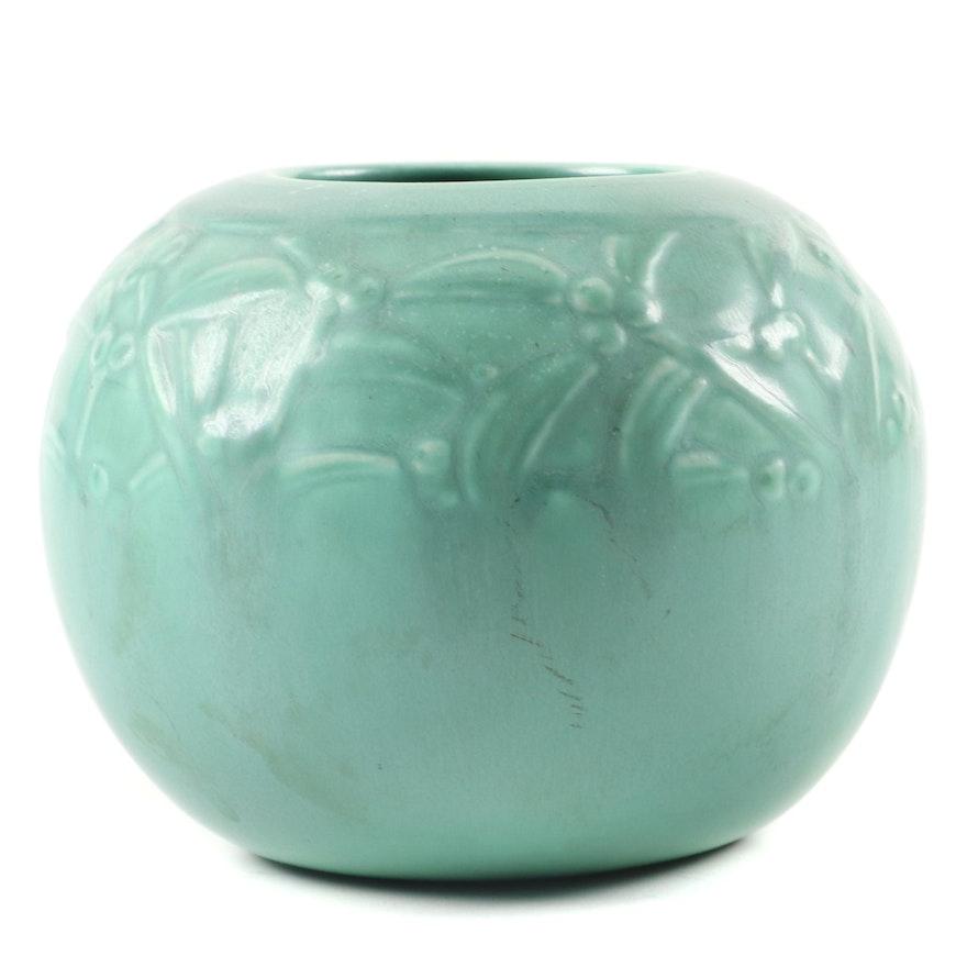 Rookwood Pottery Green Matte Glaze Production Rose Bowl, 1938