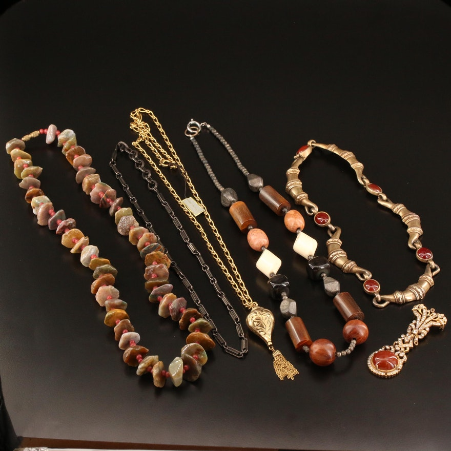 Costume Jewelry Featuring Wood, Agate and Horn Accents