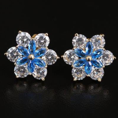 Sterling Silver Spinel and Cubic Zirconia Flower Button Earrings
