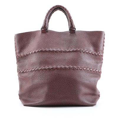 Bottega Veneta Cervo Leather Open Tote with Intrecciato Detail