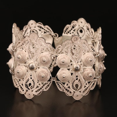Mexican Sterling Silver Filigree Link Bracelet