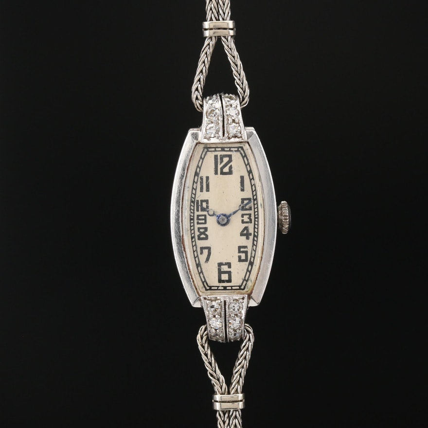 Vintage IWC Platinum, 14K Gold and Diamond Stem Wind Wristwatch