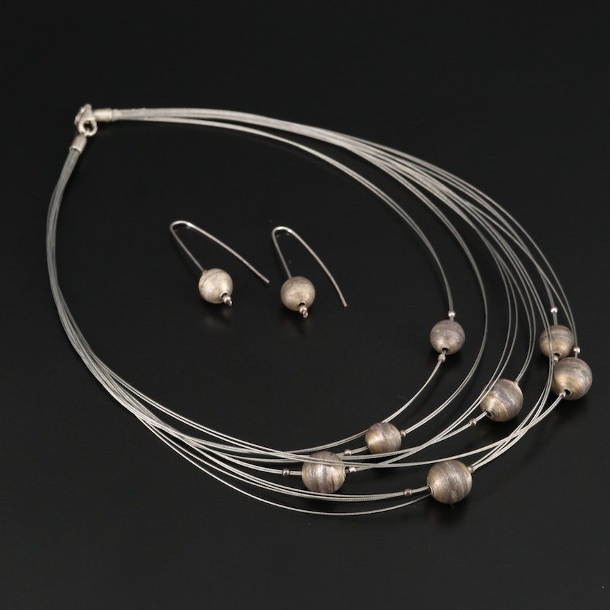 Multi-Cable Wire Station Necklace with Sterling Accents and Drop Earrings
