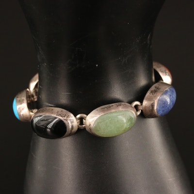 Mexican Sterling Silver Black Onyx, Jasper and Howlite Inlay Bracelet