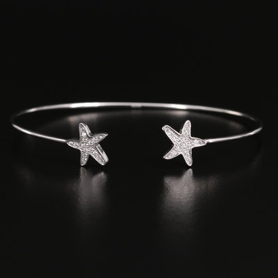 Sterling Cubic Zirconia Star Cuff