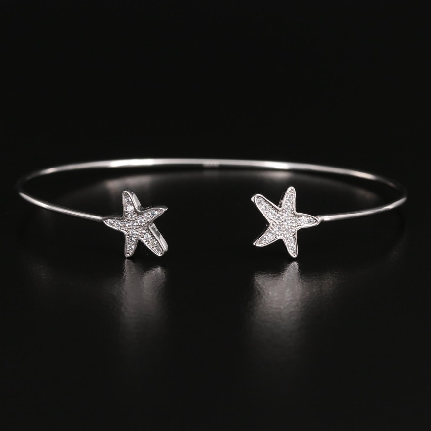 Sterling Cubic Zirconia Star Cuff