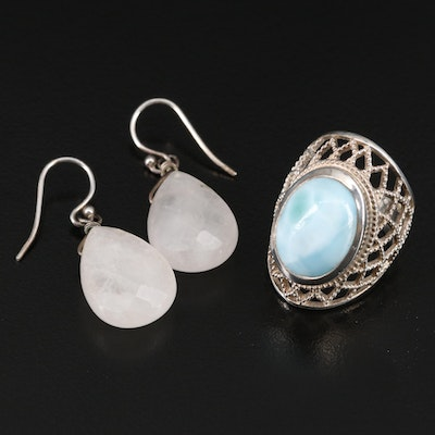 Sterling Silver Larimar and Rose Quartz Ring and Dangle Earrings