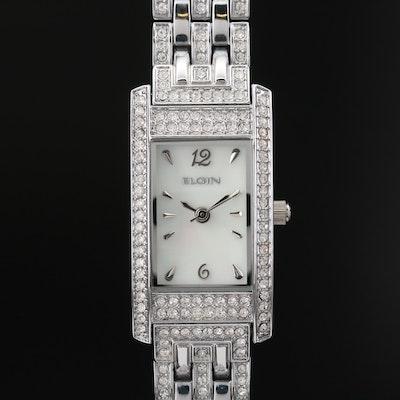 Elgin Crystal and Mother of Pearl Quartz Wristwatch