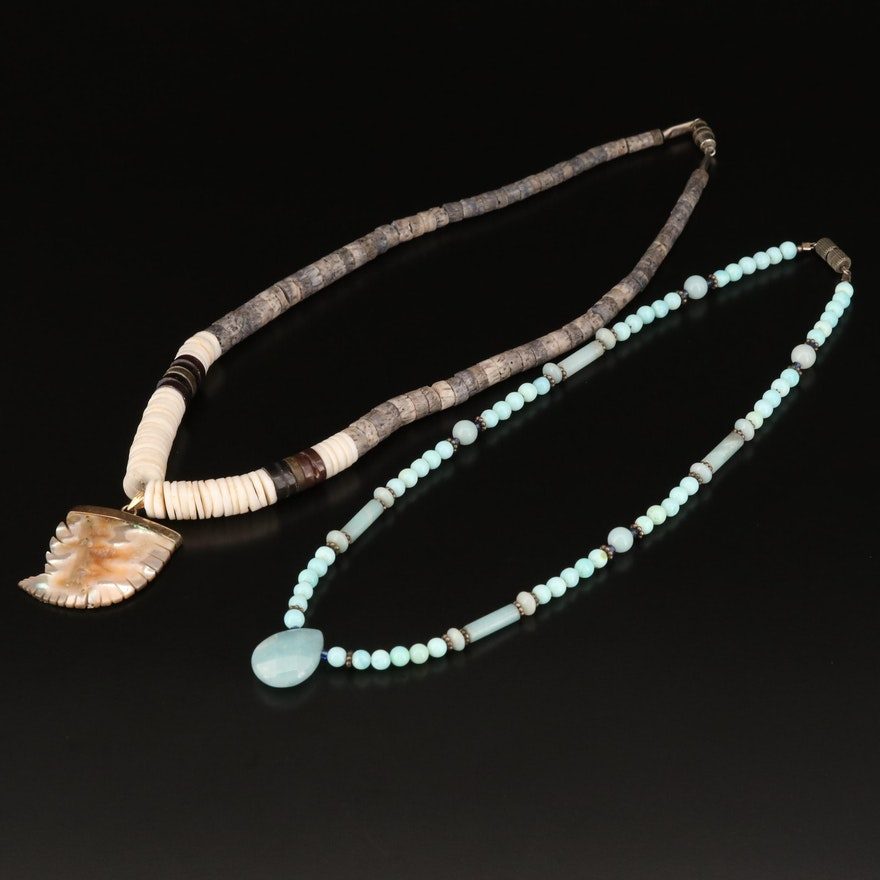 Beaded Necklaces Featuring Abalone, Coral and Shell
