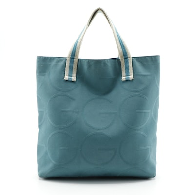 Gucci Canvas Tote in Teal with Web Straps