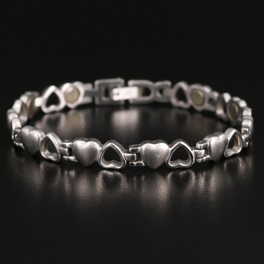 Stainless Steel Heart Link Bracelet
