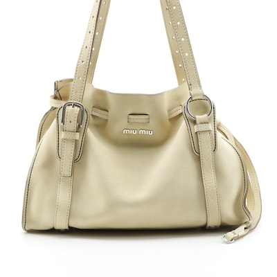 Miu Miu Shoulder Bag in Cream Grained Leather