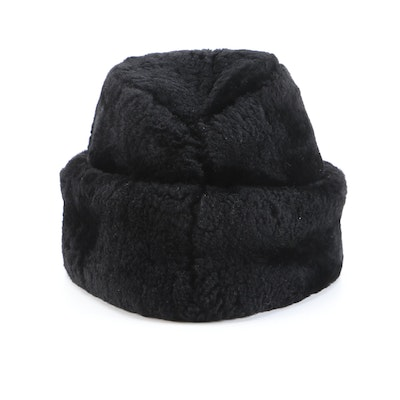 Brooks Brothers Dyed Black Mouton Lamb Fur Winter Hat with Ear Flaps
