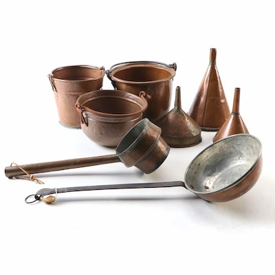 Copper Funnels, Buckets and Ladles, Early to Mid 20th Century