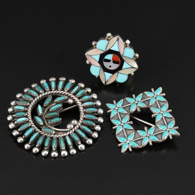 Western Style Sterling Jewelry Featuring Turquoise, Mother of Pearl and Enamel