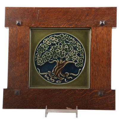 "Rookwood Pottery ""Tree of Life"" Tile in Oak Prairie Style Frame, 2013"