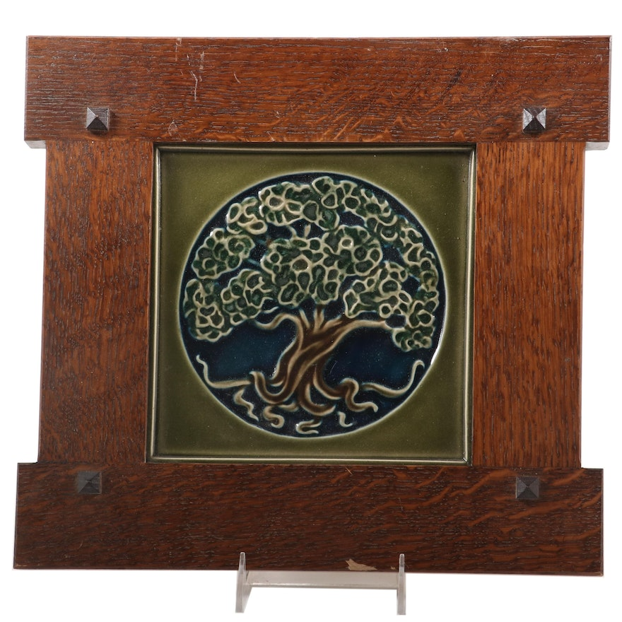 """Rookwood Pottery """"Tree of Life"""" Tile in Oak Prairie Style Frame, 2013"""