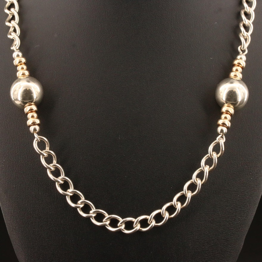Sterling Silver Endless Bead and Curb Link Necklace with 14K Accent Beads