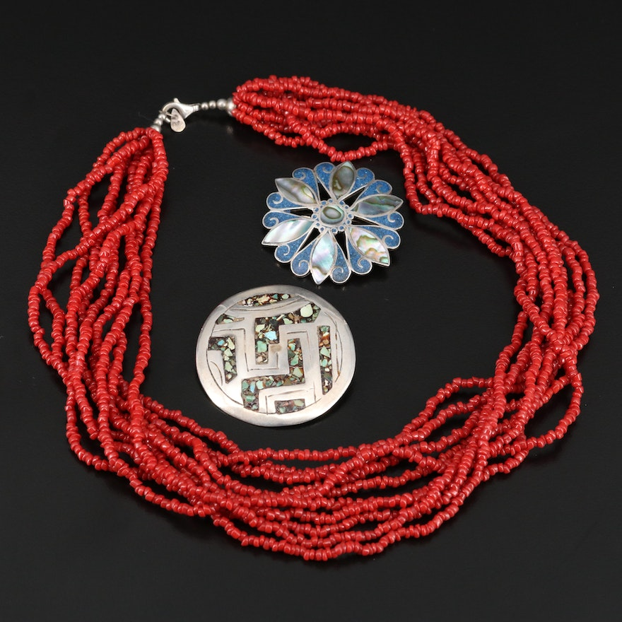 Sterling Silver Jewelry Featuring Silpada Multi-Strand Necklace and Brooches