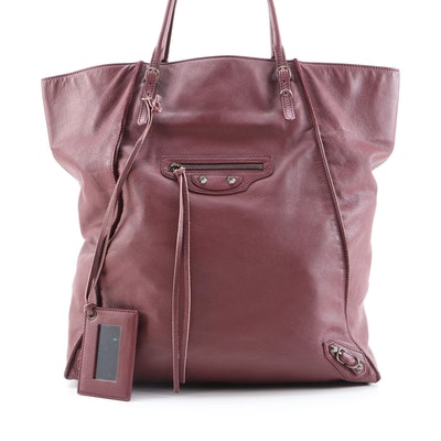 Balenciaga Papier Basket Tote with Classic Studs in Burgundy Leather