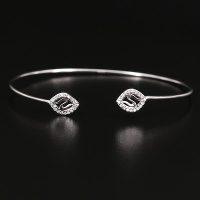 Sterling Cuff with Cubic Zirconia Openwork Ends