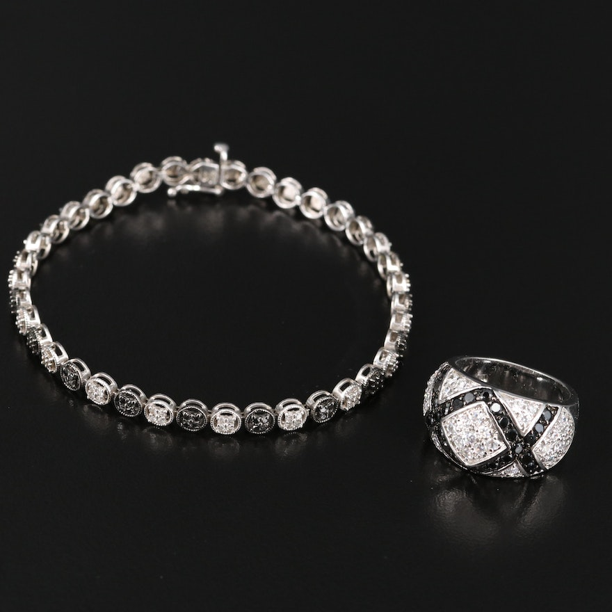 Sterling Silver Diamond and Cubic Zirconia Link Bracelet and Dome Ring