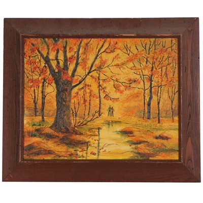 Mary Rizzo Autumnal Landscape Oil Painting, Late 20th Century