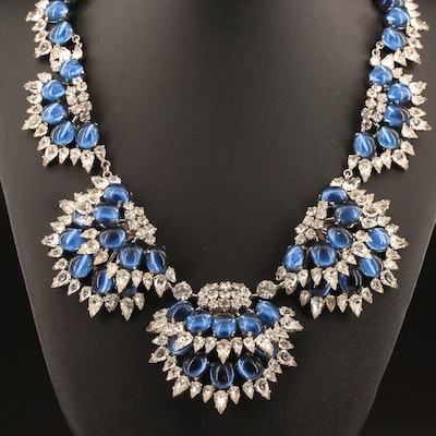 1959 Christian Dior Rhinestone and Blue Glass Necklace