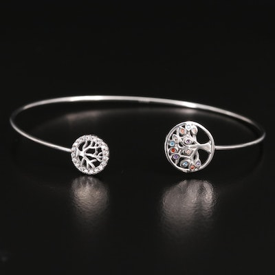 Sterling Cuff with Cubic Zirconia Tree of Life Ends