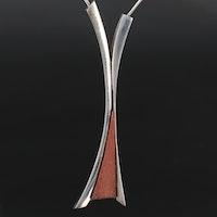 Poznań, Poland Modernist Sterling and Wood Pendant