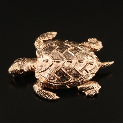 Gold Tone Turtle Brooch