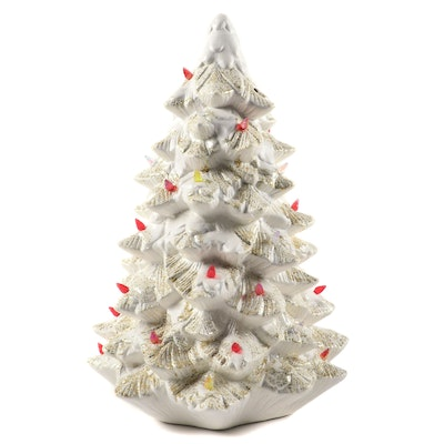 Illuminated Ceramic White Christmas Tree, Late 20th Century