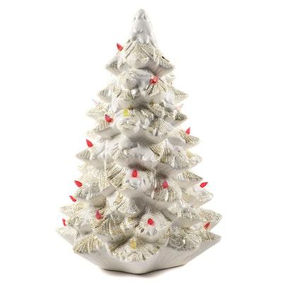 Illuminated Ceramic White Christmas Tree, Late 20th Century