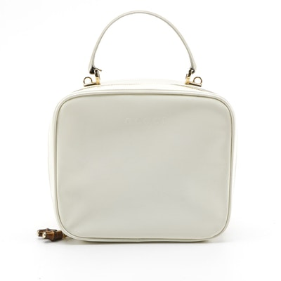 Gucci Off-White Patent Leather Top Handle Bag with Bamboo Zipper Pulls