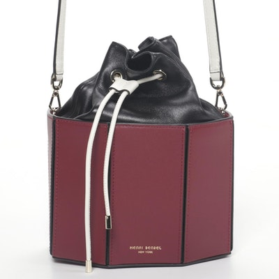 Henri Bendel Bucket Drawstring Shoulder in Color Block Leather