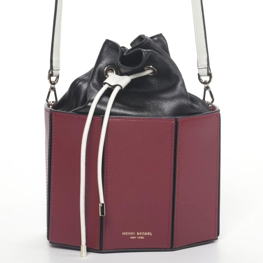 Henri Bendel Bucket Drawstring Shoulder in Color Block Leather