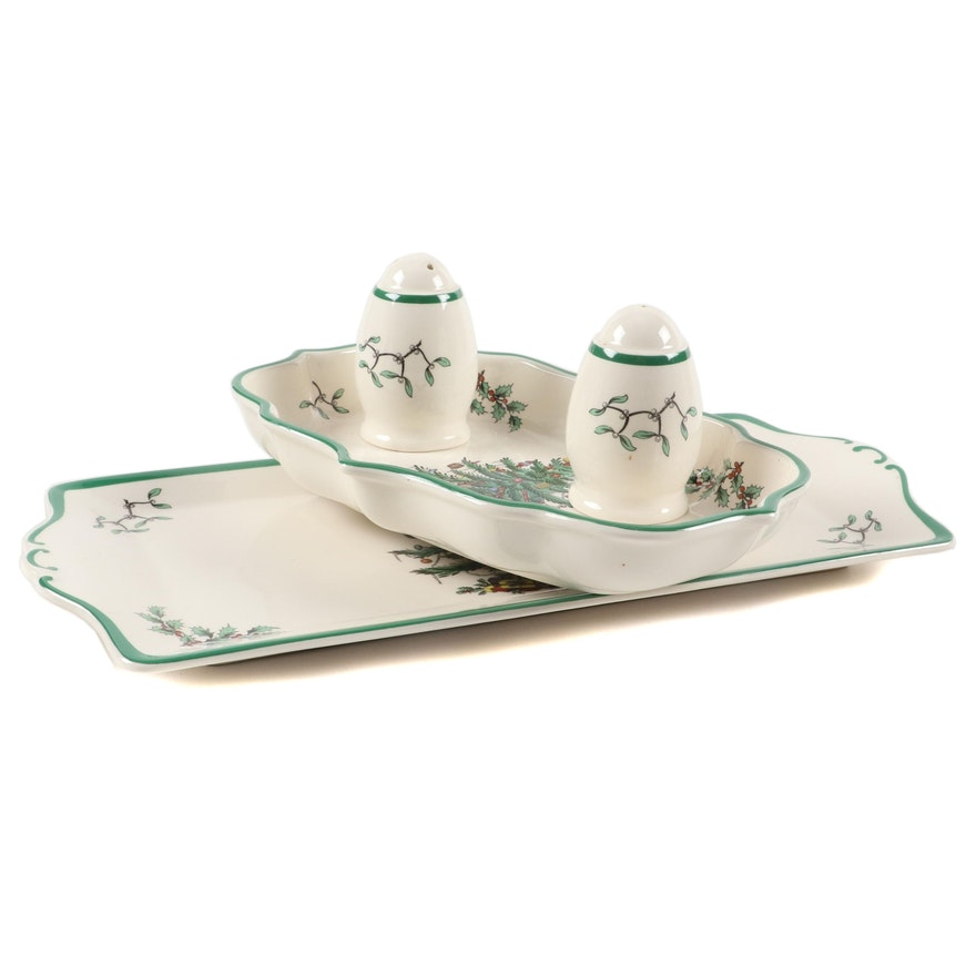 """English Spode Ceramic """"Christmas Tree"""" Holiday Tray and Other Tableware"""