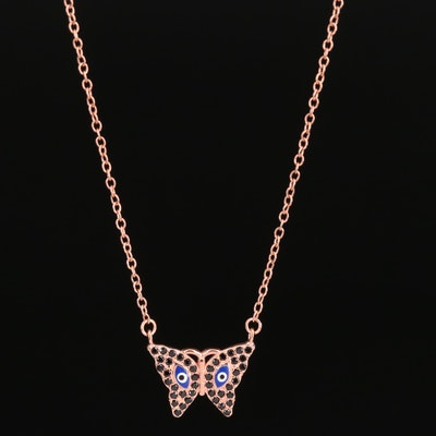 Sterling Silver Spinel and Enamel Butterfly Pendant Necklace